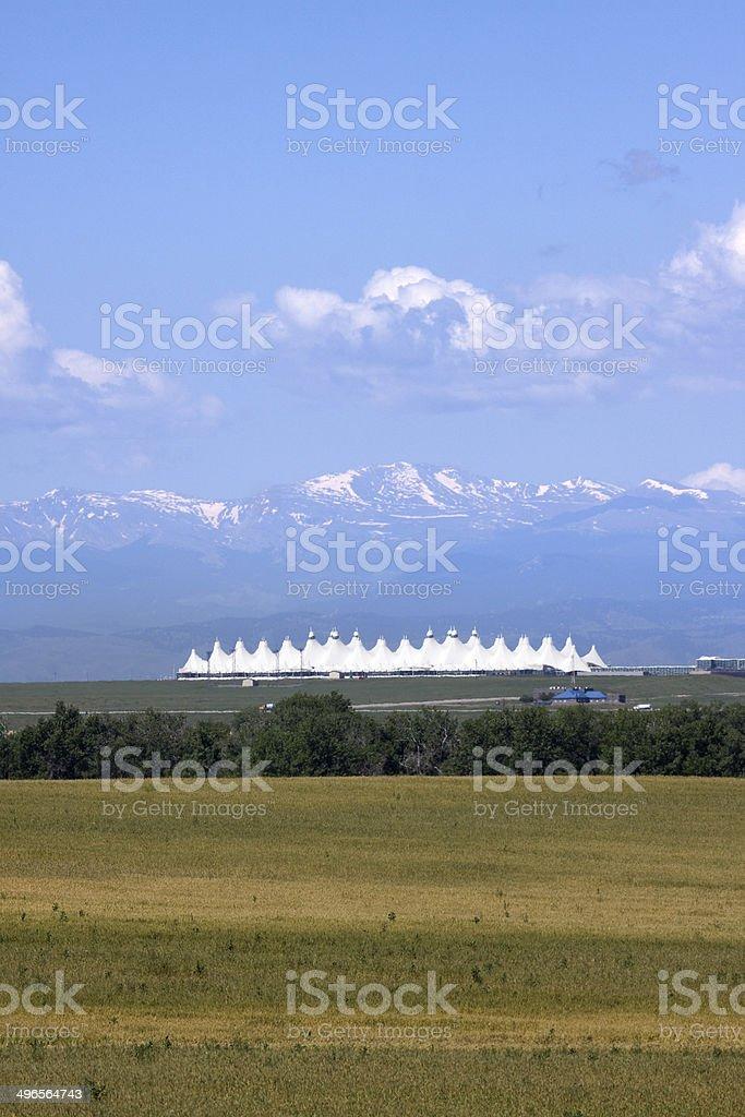 Denver International Airport Teepees Colorado copy space stock photo