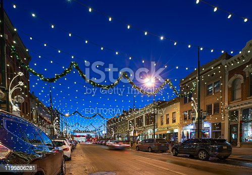 Denver, Colorado, USA - December 29, 2019: Larimer St under the Christmas lights on a clear winter evening.