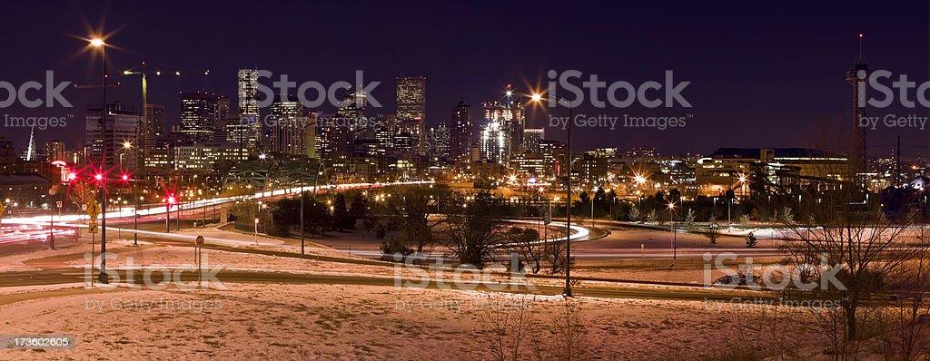Denver Night Panorama royalty-free stock photo