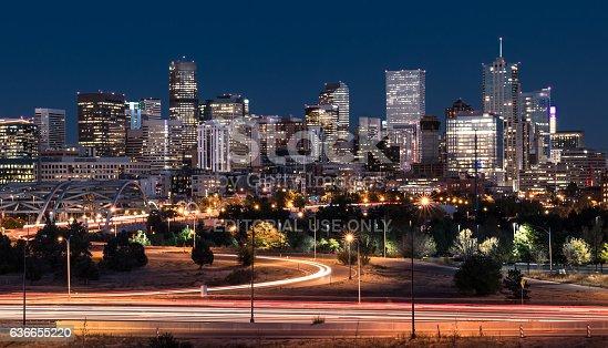 istock Denver Night Skyline 636655220