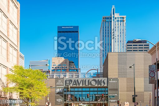 The Denver Pavilions shopping mall and skyscrapers in downtown Denver. The Denver Pavilions is a retail, dining and entertainment center located in the heart of downtown Denver.