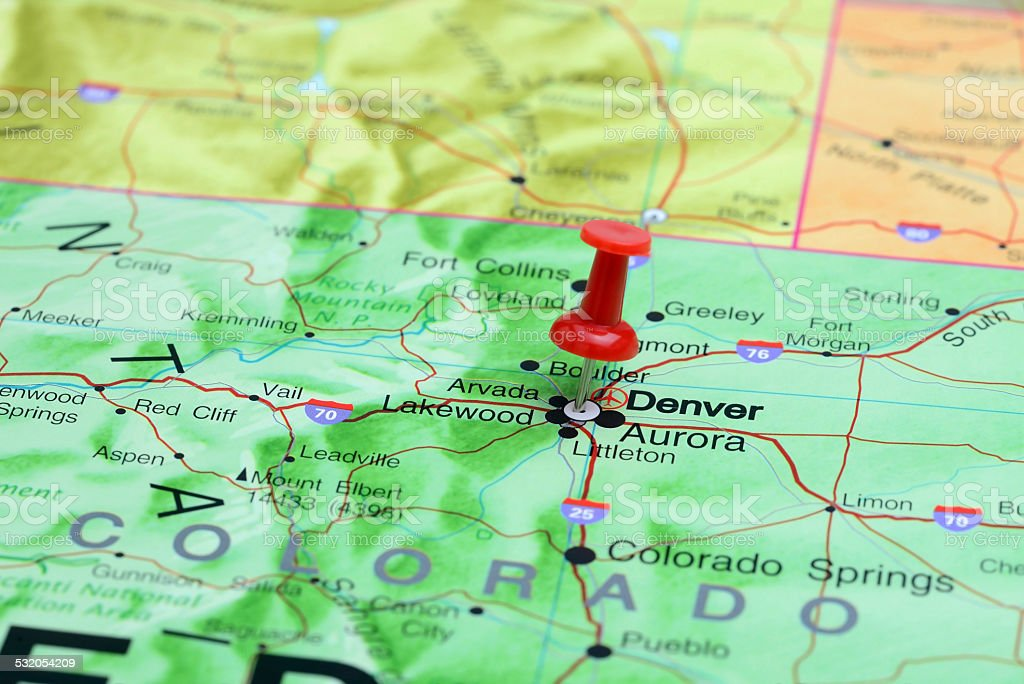 Denver pinned on a map of USA stock photo