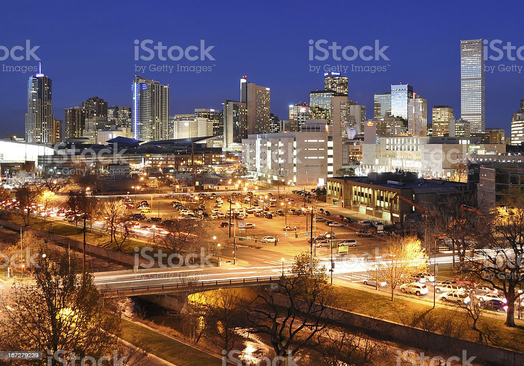 Denver Rush Hour Cityscape royalty-free stock photo
