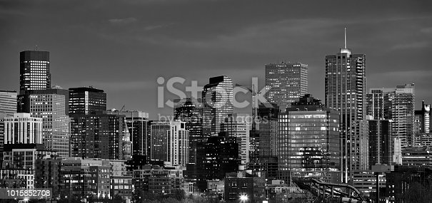 Panoramic picture of Denver skyline at dusk, Colorado, USA.