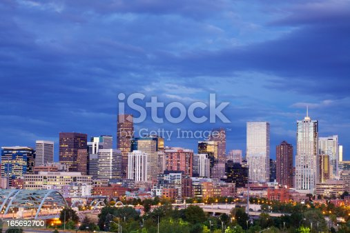 Denver Skyline At Night Stock Photo & More Pictures of Architecture
