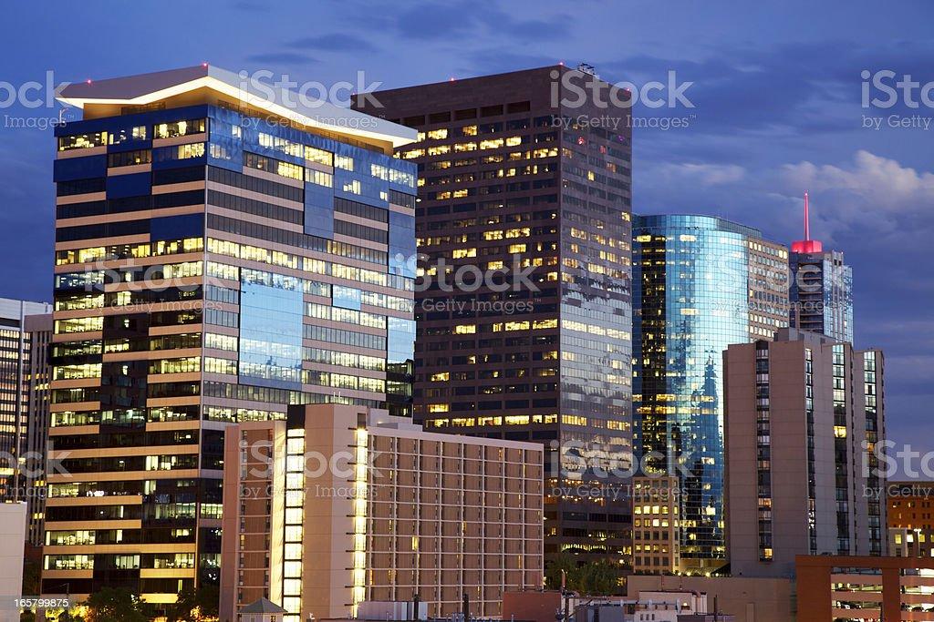 Denver Skyline at night stock photo