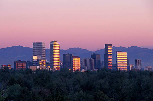 Denver Skyline at Sunrise Denver Skyline at Sunrise denver stock pictures, royalty-free photos & images