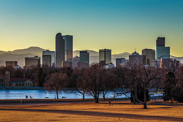 denver skyline at sunset - 2015 stock pictures, royalty-free photos & images