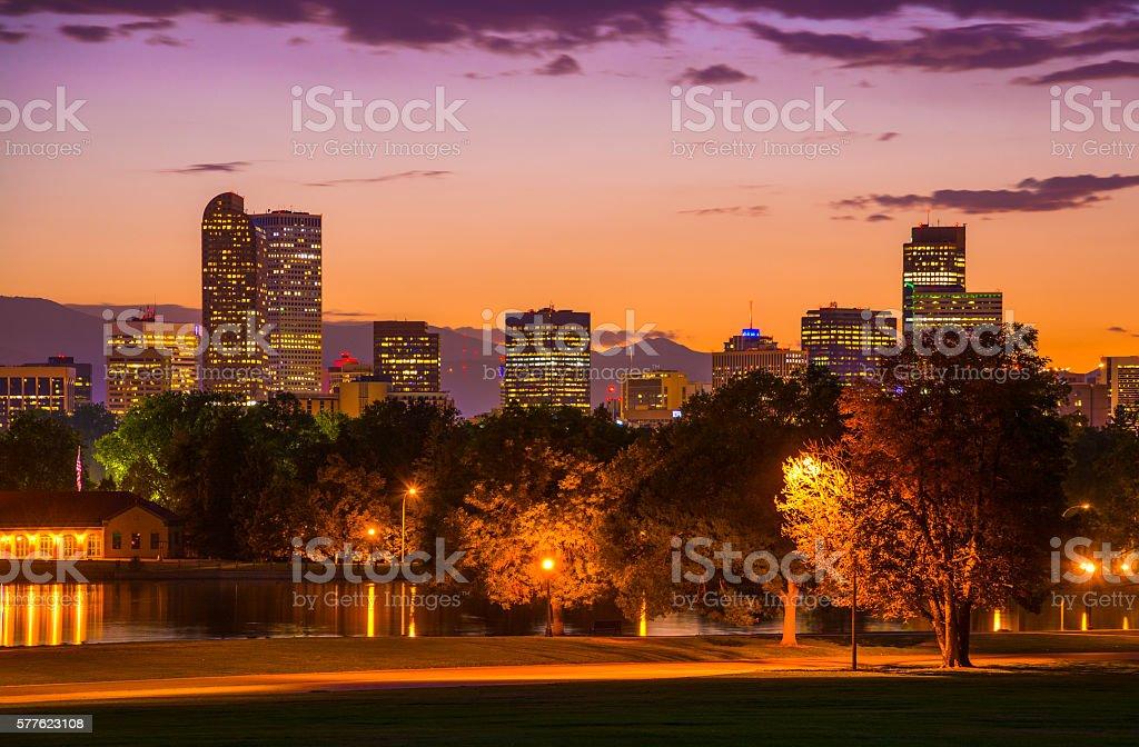 Denver Skyline at Sunset with an Orange to Purple Sky stock photo