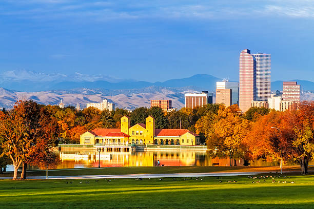 Denver Skyline in Fall from City Park stock photo