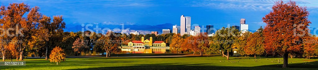 Denver Skyline in Fall from City Park stock photo
