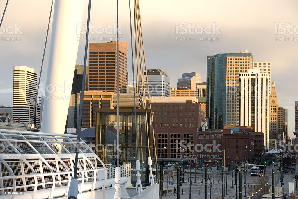 Denver Skyline in From Lower Downtown stock photo