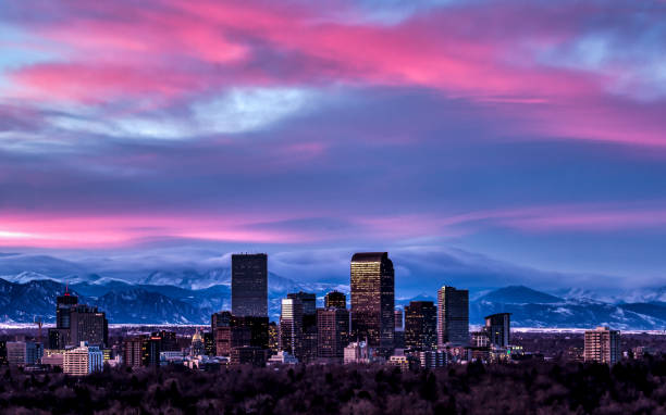 denver sunset skyline - mountain range stock photos and pictures