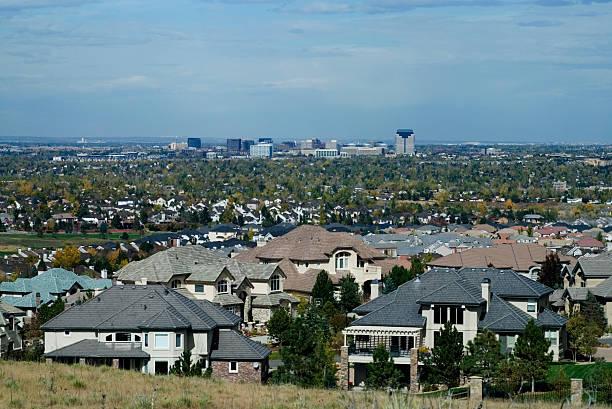 Denver Tech Center & Wealthy Subdivision stock photo