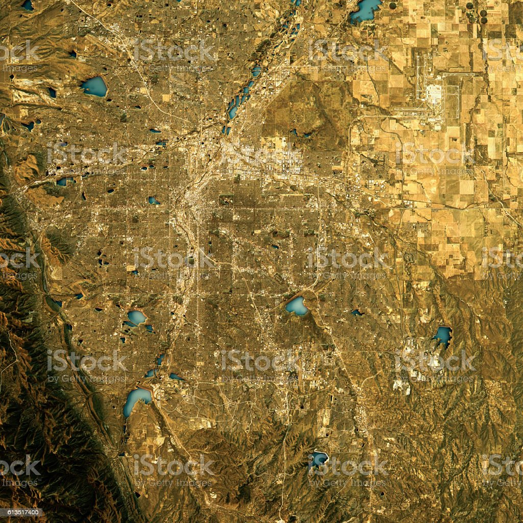Denver Topographic Map Natural Color Top View圖像檔