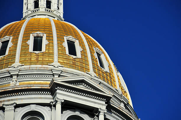 denver, usa: colorado state capitol dome - colorado state capitol stock photos and pictures