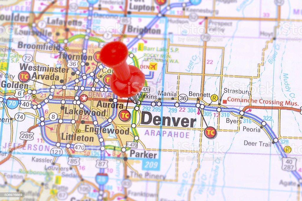 Denver,Colorado Map stock photo