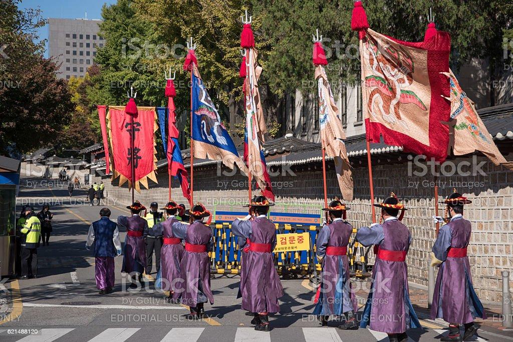 deoksugung palace royal guard-changing ceremony, at Seoul , Korea foto stock royalty-free
