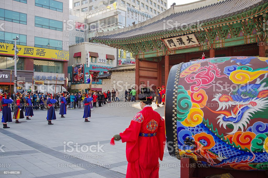 deoksugung palace royal guard-changing ceremony, at Seoul , Korea foto stock royalty-free