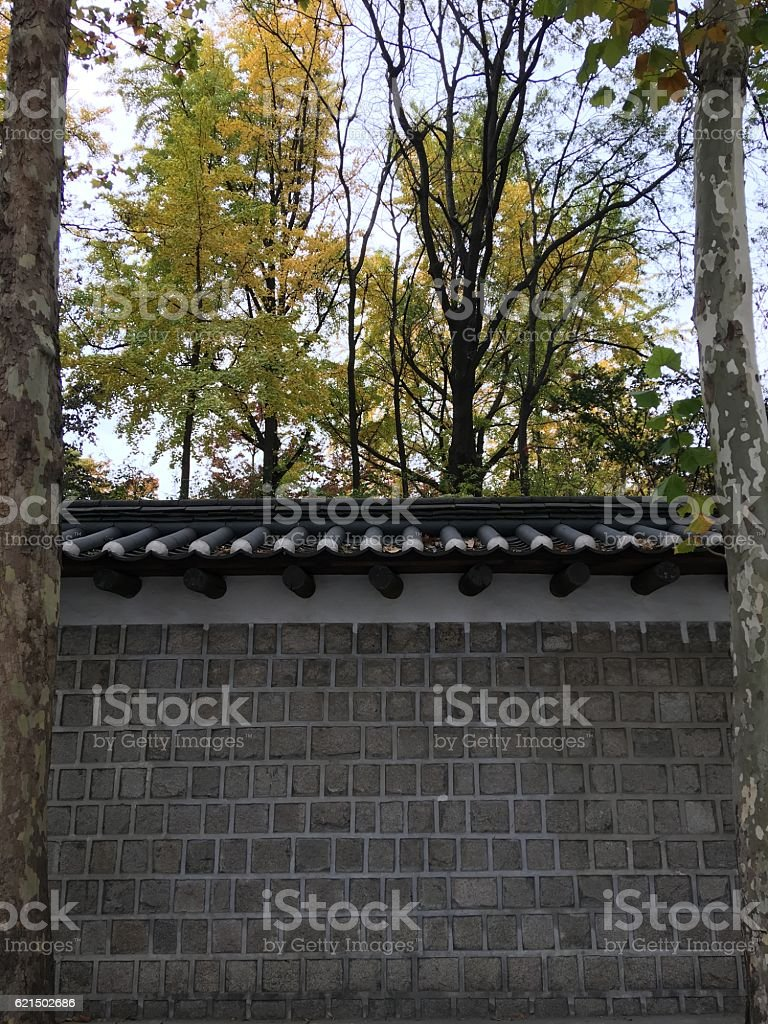 deoksugung palace wall foto stock royalty-free