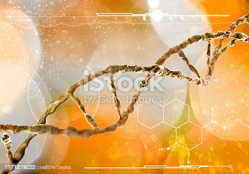 DNA, Deoxyribonucleic acid is a thread-like chain of nucleotides carrying the genetic instructions used in the growth, development, functioning and reproduction of all known living organisms and many viruses. DNA helix, 3d rendering, HUD