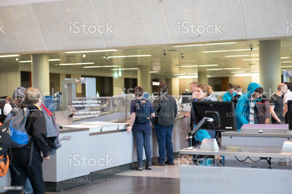Departing passengers at TSA security checkpoint at Keflavik International Airport, Iceland stock photo