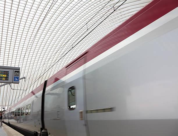 Departing train stock photo