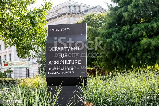 Washington, D.C., USA - July 20, 2019: This is the sign on the exterior of the Department of Agriculture in Washington D.C.   The Department of Agriculture is a cabinet-level governmental entity tasked with regulating the agricultural interests of the United States. This photo was taken on July 20, 2019.