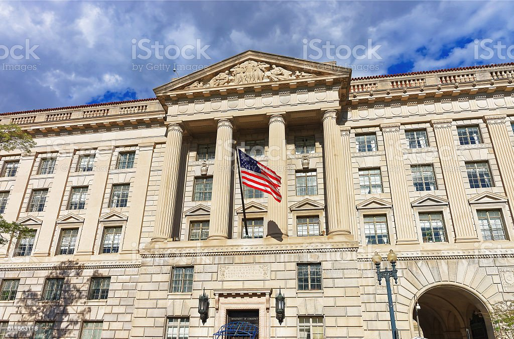 Department of Commerce in Herbert Hoover Building stock photo