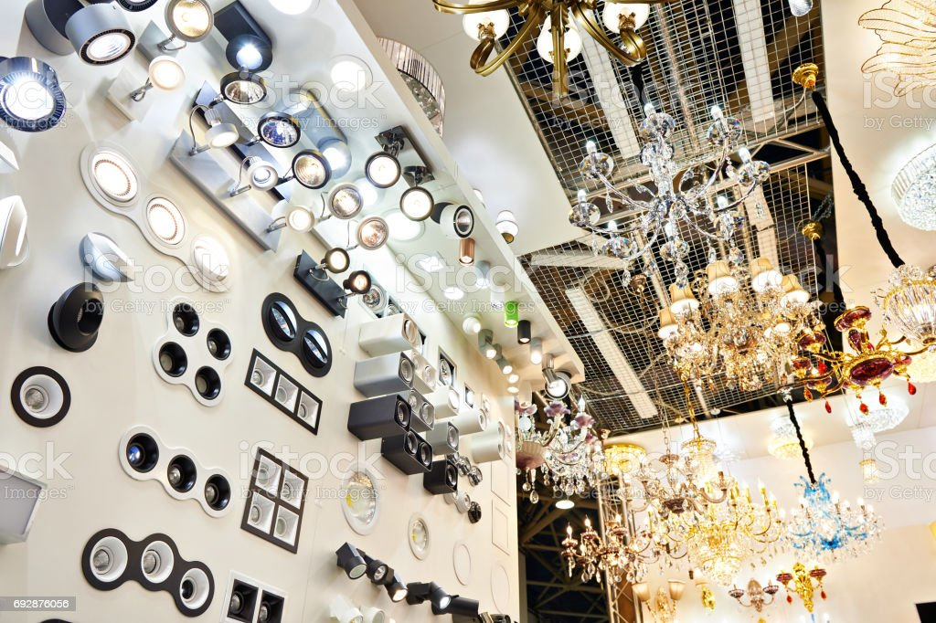 Department of fixtures and chandeliers in store stock photo