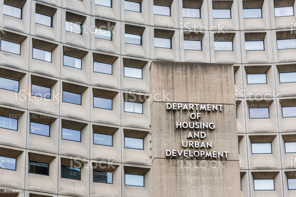 Department of Housing and Urban Development in downtown with closeup of sign and building windows stock photo