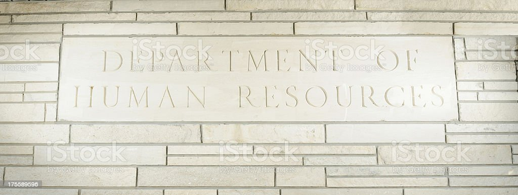 Department of human resources sign close up stock photo