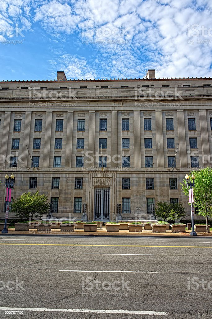 Department of Justice building in Washington DC stock photo
