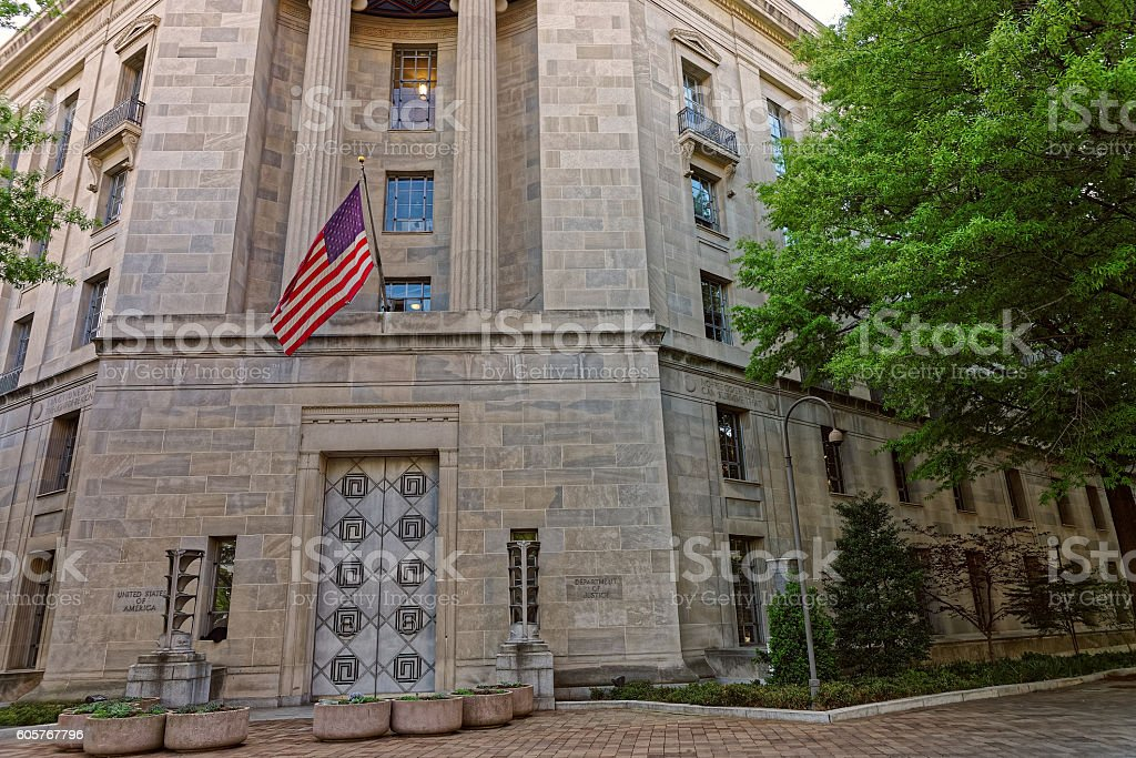 Department of Justice entrance in Washington DC stock photo