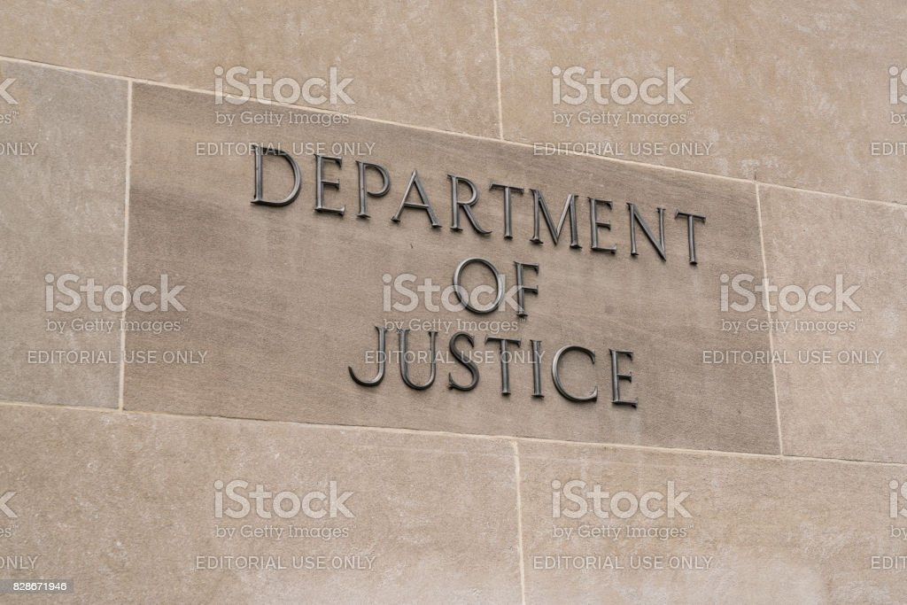 Department of Justice Sign stock photo