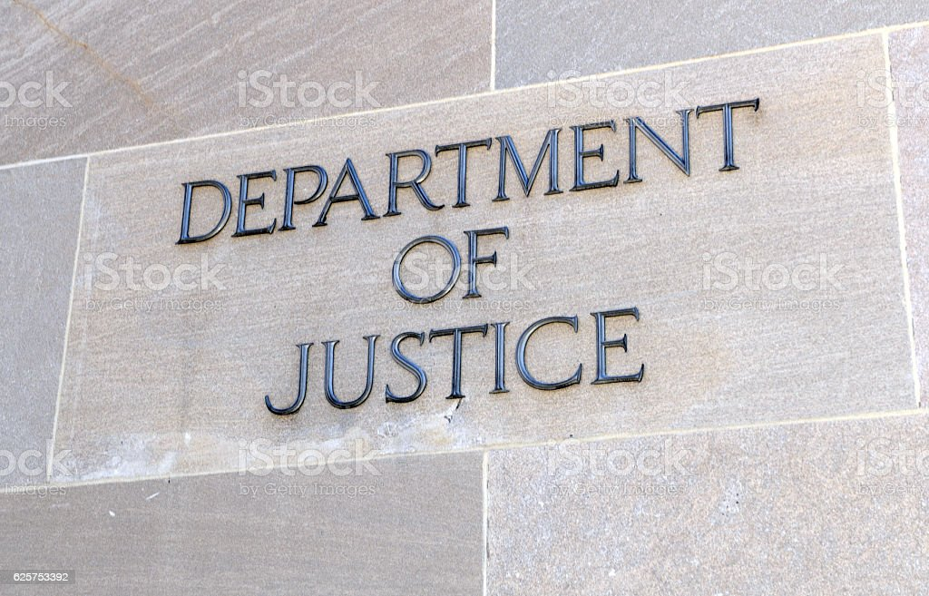 Department of Justice sign, Washington DC, USA stock photo