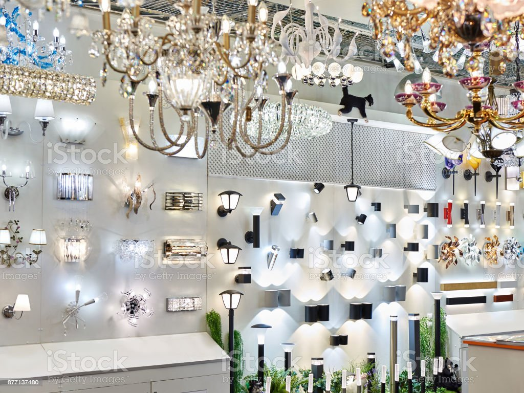 Department Of Lanterns, Fixtures And Chandeliers In Store   Stock Image .
