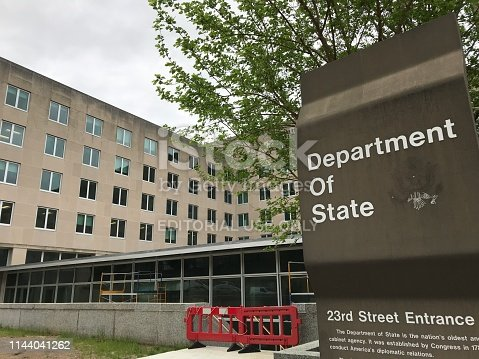 Washington DC,USA - April 19,2019:Government agency of US diplomacy. Cloudy sky in the early morning. Japan's Minister of Foreign Affairs will meet with Secretary Pompeo.