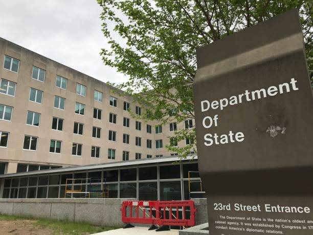 US Department of State 23rd street entrance Washington DC,USA - April 19,2019:Government agency of US diplomacy. Cloudy sky in the early morning. Japan's Minister of Foreign Affairs will meet with Secretary Pompeo. foreign affairs stock pictures, royalty-free photos & images