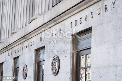 Detail shot of The Department of the Treasury building in Washington, DC.