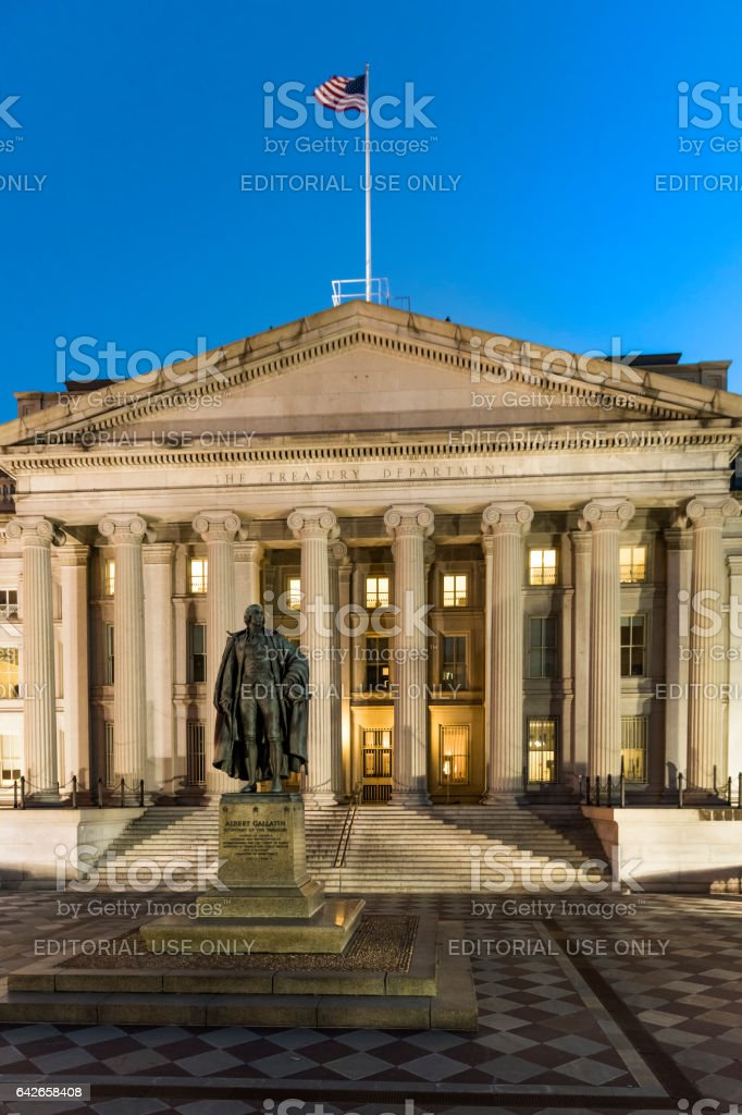 Department of Treasury building with sculpture of Albert Gallatin secretary stock photo