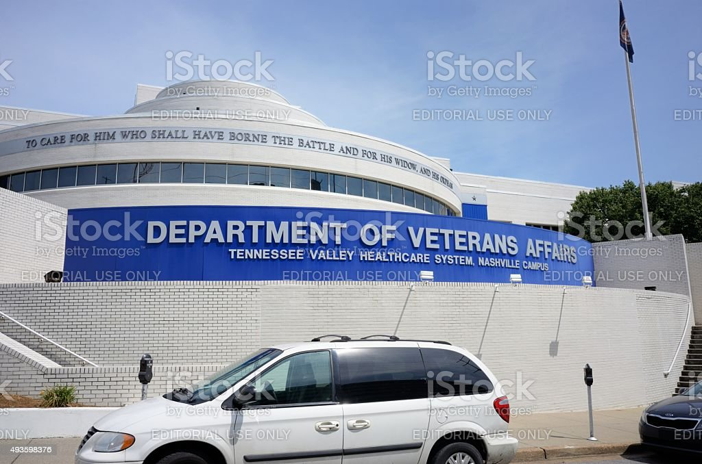 Department of veterans affairs in Nashville Nashville, Tennessee, USA - August 9, 2015: Department of Veterans Affairs, Tennessee Valley Healthcare System, Nashville Campus sign on building in Nashville, Tennessee.  Image taken on 24th Avenue South in Nashville. 2015 Stock Photo