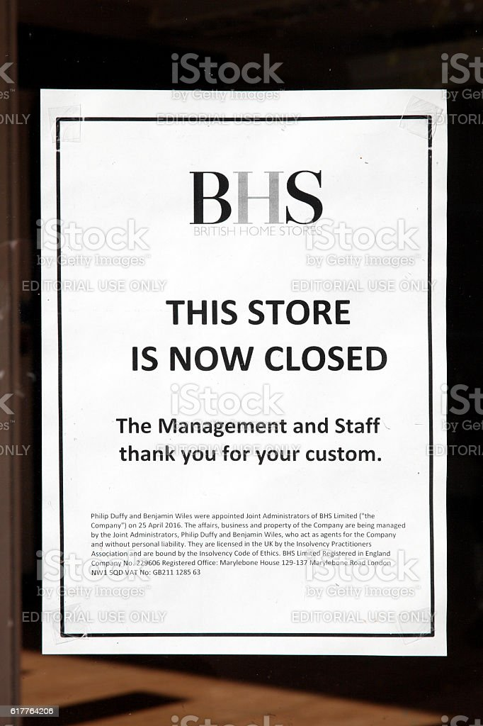 BHS department store closed sign stock photo