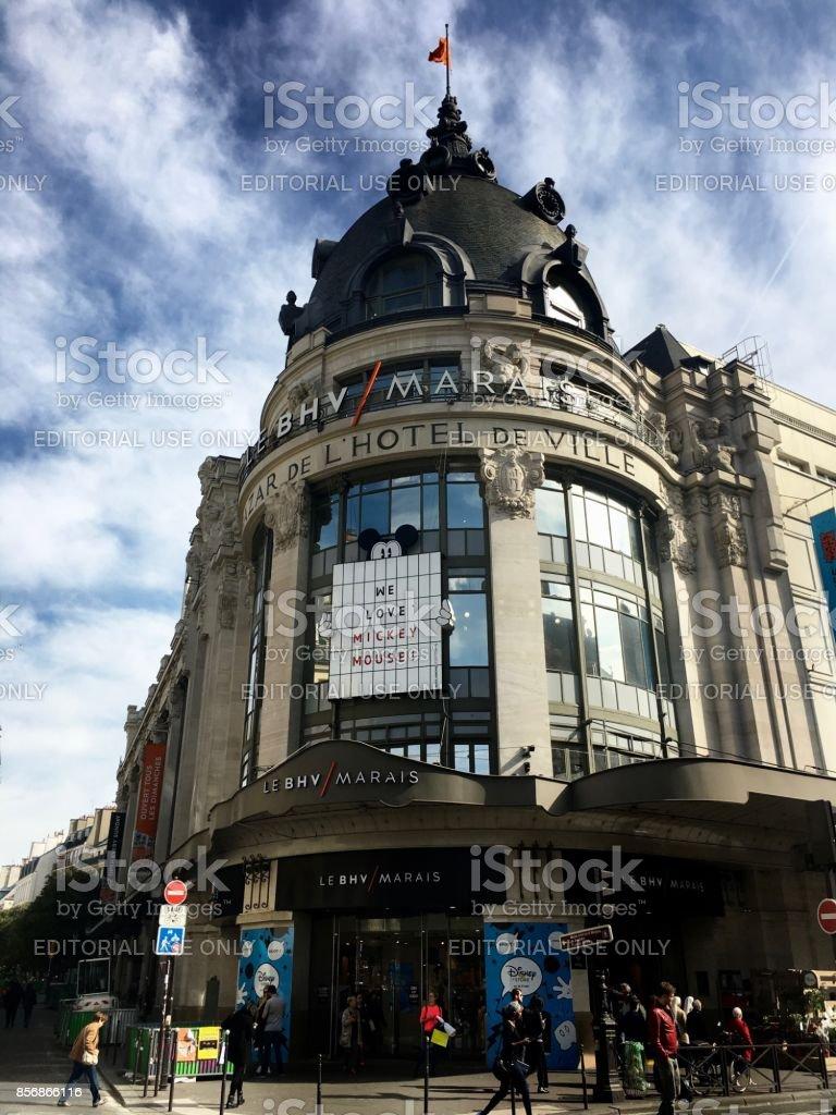 BHV Bazar de l\'Hotel de Ville department store entrance in Le Marais...