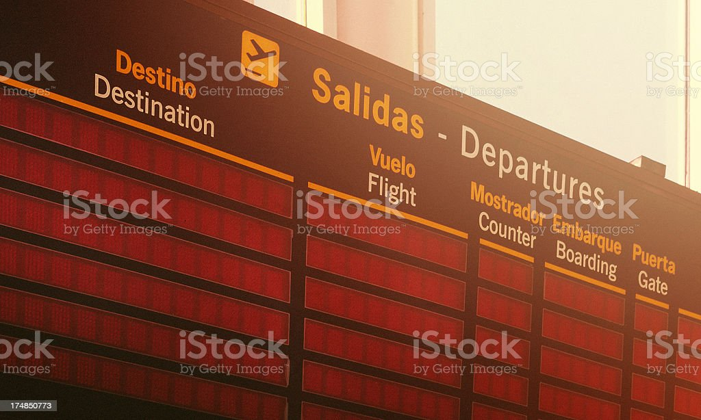 Departure Board at the airport stock photo