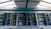 """Departure board - destination airports.""""nFlight information, arrival, departure at the airport""""nFlights information board in airport terminal"""