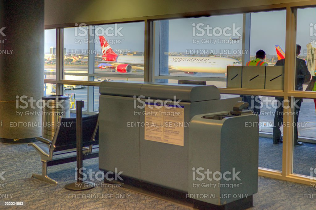 Departure gate stock photo