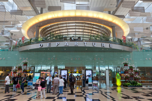 Departure Hall At Changi Airport Stock Photo - Download Image Now
