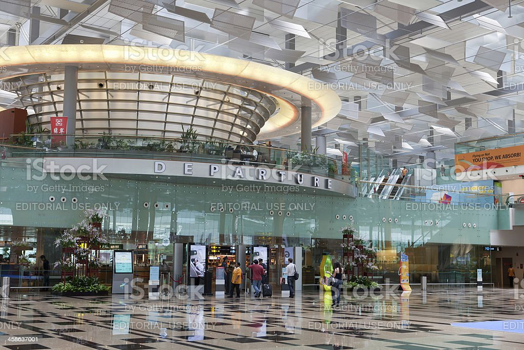 Departure hall at Changi airport stock photo