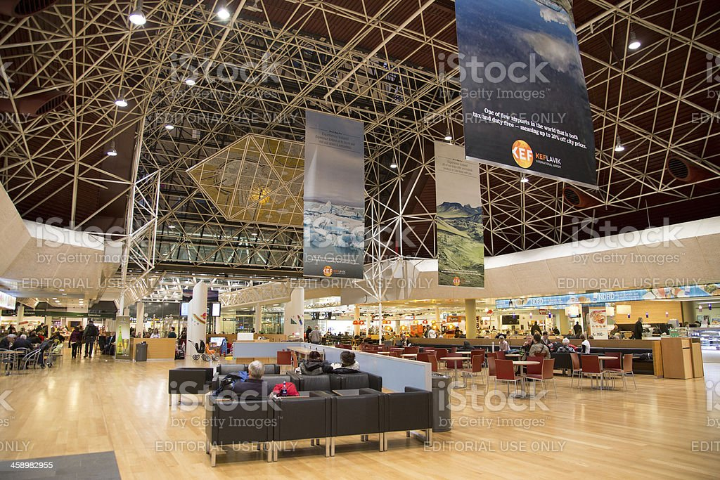 Departure hall at Reykjavik International Airport in Iceland stock photo